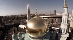Aerial of Moscow Cathedral Mosque, Islam. Religious building, church Stock Footage