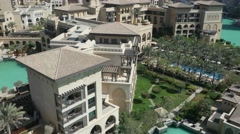 Aerial shot of Souk Al Bahar. Dubai, UAE. Stock Footage
