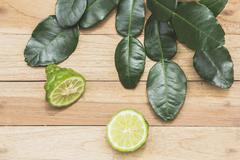 Kaffir lime herbs fresh Stock Photos