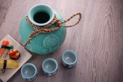 japan sake bottle set - stock photo