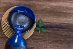 Japanese Sake drinking set Stock Photos