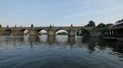 Charles Bridge -  one of the most visited sights in Prague Stock Footage
