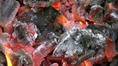 Close up view of red-hot coal.  Stock Footage