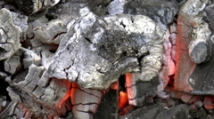 Close up view of red-hot coal to Stock Footage