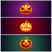 Horizontal Halloween Banners Background with Pumpkin Piirros