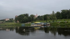 River Neman in city Grodno Stock Footage