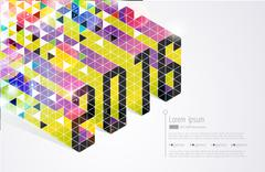 New years card. Abstract vector - stock illustration
