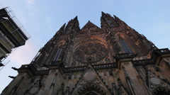 The front view of the Cathedral with its rose window, Prague Stock Footage