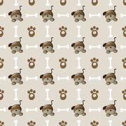 Stock Illustration of Seamless colorful dog pattern with paw and bone.