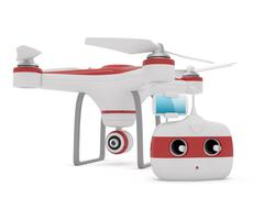 Quadrocopter drone with the camera and Radio remote controller with smartphon - stock illustration