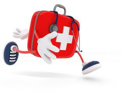 Stethoscope and First Aid Kit Stock Illustration