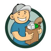 Stock Illustration of Grocery Delivery Service Square