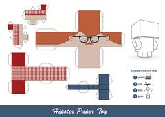 Hipster paper toy with assembly instruction. Stock Illustration
