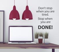 Stock Illustration of Inspirational quote on wall.