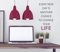 Inspirational quote on wall. - stock illustration
