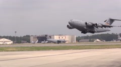 BASE CHARLSTON, MAY 2015, US Air Force C17 Aircraft Start Charlston Airbase - stock footage