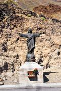 Statue of Jesus Christ in Mount Teide. Tenerife. Spain. Christian Symbol Stock Photos