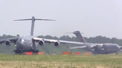 BASE CHARLSTON, MAY 2015, US Air Force Two C17 Aircraft Rolling Airfield - stock footage