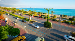 Alanya town. Turkey. Traffic. Transitions from day to night. Stock Footage