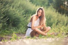 girl on a desert island - stock photo