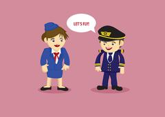 Pilot and and Air Stewardess Vector Cartoon Illustration - stock illustration