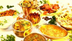 Indian Food Spread slow rotation Stock Footage