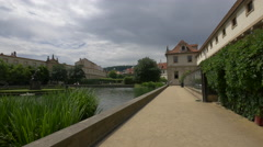 Wallenstein Garden with lake and statues in Prague Stock Footage