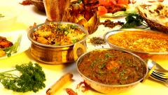 Indian Food Spread in close up Stock Footage