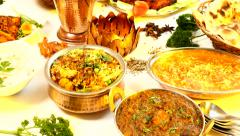 Indian Food Spread camera pan Stock Footage