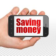 Business concept: Hand Holding Smartphone with Saving Money on display Stock Illustration