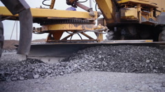 Street road work place with bulldozer prepare gravel Stock Footage