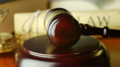 Court law justice litigation concept with gavel and hammer - stock footage
