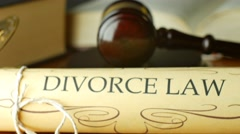 Divorce court law justice litigation concept with gavel and hammer - stock footage