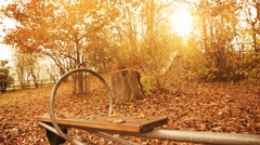 Empty seesaw moving in front of autumn leaves Stock Footage