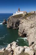 Lighthouse at Cabo de Sao Vicente, Sagres, Algarve, Portugal - stock photo