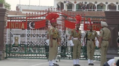 SLOW MOTION Wagah border ceremony,Wagah,India Stock Footage