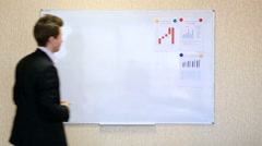 Young businessman makes presentation with wall chart Stock Footage