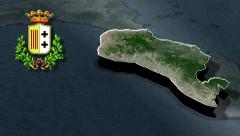 Metropolitan city of Reggio Calabria whit Coat of arms animation map Stock Footage