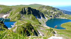 Breathtaking view of Bulgarian mountains, lakes and green field Stock Footage