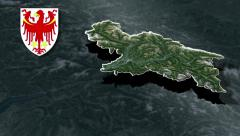 Autonomous province of Bolzano with Coat of arms animation map - stock footage