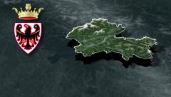 Autonomous province of Trento with Coat of arms animation map - stock footage