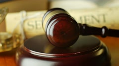 Justice settlement in trial tribunal to seek truth verdict court legal law syste - stock footage