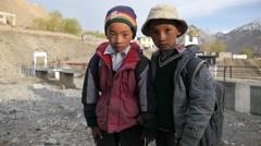 SLOW MOTION Boys in Kazaa,Kaza,Spiti,India Stock Footage