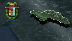 Belluno's province with Coat of arms animation map Stock Footage