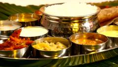 Indian Food [South] Thali Rotation Close up Stock Footage
