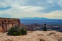 Male Hiker Takes in Grand View in Canyonlands National Park Stock Photos