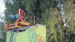 Close up of cable pull machine in wakepark Stock Footage