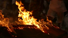 Firewalking ceremony Stock Footage