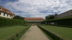 Walking in the beautiful Wallenstein Garden in Prague Stock Footage