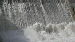 SLOW MOTION Falling water at small dam,Kargil,Ladakh,India Stock Footage